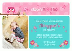 Owl Girl Birthday Baby Shower Invitation Thank You Note Favors Address Labels Custom Photo (Powered by CubeCart) Photo Birthday Invitations, Baby Shower Invitations, Birthday Cards, Birthday Parties, Thank You Notes, Custom Labels, Address Labels, Custom Photo, Photo Cards