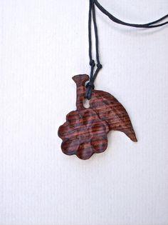 Wood Carved Pendant Wood Jewelry Wood Flower by GatewayAlpha, $12.95