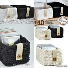 crochet baskets - no pattern Crochet Storage, Crochet Box, Crochet Basket Pattern, Love Crochet, Crochet Yarn, Crochet Patterns, Crochet Baskets, Crochet Home Decor, Crochet Crafts
