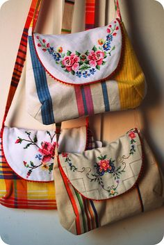 Vintage Fabric Bags www.leahhalliday.co.uk Great use of vintage linens.