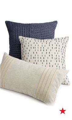Geometric patterns are key for making an eye-catching statement. These comfy throw pillows from Hotel Collection are an excellent place to start.