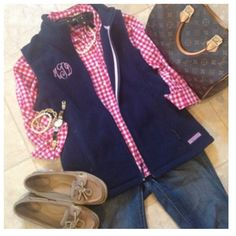 Vineyard Vines + Monogram + Gingham and maybe a Longchamp instead Preppy Fall, Preppy Style, My Style, Preppy Outfits, New Outfits, Cute Outfits, Fall Winter Outfits, Autumn Winter Fashion, Preppy Southern
