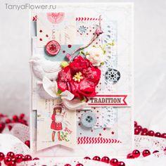 Открытка на Новый год. Скрапбукинг. New year cards. Merry Chrismas. Xmas. Scrapbooking. Cardmaking. Crafts. Tanya Flower