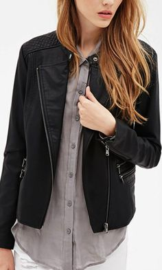 classic moto jacket with quilted panels at the shoulders