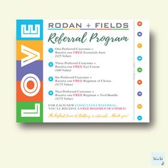 Rodan and Fields Referral Cards, Rodan and Fields Cards, Rodan + Fields Business, Rodan and Fields Cards 0065