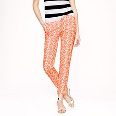 J.crew collection café embroidered neon floral Capri new never used but I lost the tags the color it's neon orange perfect for the incoming seasons J. Crew Pants Capris