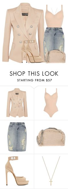 """""""Untitled #1339"""" by styledbyjovonxo ❤ liked on Polyvore featuring Balmain, Wolford, Dorothy Perkins, MSGM, Givenchy and Gucci"""