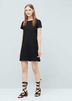 Contrast textured-panel dress | MANGO