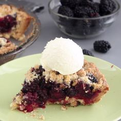 Traditional crumble is turned into a pie and stuffed with sweet, juicy blackberries!
