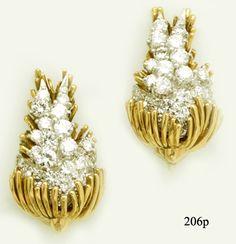 Diamond, Gold and Platinum Bunny Rabbit Earrings at Nelson Rarities,Inc. Portland, Maine
