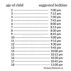 What time should my child go to bed? . Children need sleep – below is a suggestion chart – all children are different, but you may find this guide helpful.