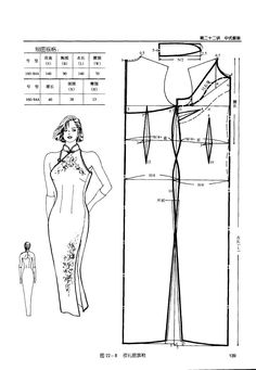 Cheongsam (qipao) with halter neck, can be adapted for cut in armhole. Costume Patterns, Dress Sewing Patterns, Clothing Patterns, Gown Pattern, Collar Pattern, Cheongsam, Fashion Sewing, Diy Fashion, Classic Fashion