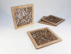 Leaf Pattern Coasters  Set of 4 by BeamDesigns on Etsy