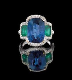 18 Kt. Gold, Emerald, Sapphire and Diamond Ring