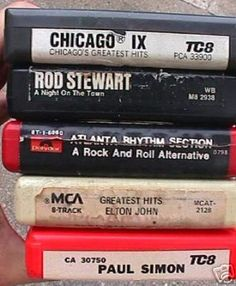 """8 Track Tapes - Probably the first media containing """"on demand"""" music. These could go with you in your car if you had an 8 track player. But, there was no rewind. If you wanted to hear that song again, you forwarded until you thought you were close enough to it, then hit play, forward, play, forward, oops...missed the beginning of the song...forward, play, forward..."""