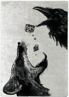 Raven (black bird, Fox, Aesop, crow) Series- Do NOT Trust inch 2014 etching The Crow, Illustrations, Illustration Art, Raven Art, Crows Ravens, Fox Art, Beautiful Birds, Printmaking, Sketches
