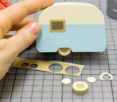 DIY Mini Camper cut out of foam board - tutorial at http://www.wagner.de.com/blog/how-to-build-a-caravan/