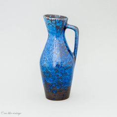 Vase Keramik Mid Century Modern Blau & Schwarz von welikevintage