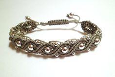 Sterling Silver 925 Beads Waves Macrame Knot Silver Grey Cord Friendship Cuff Bracelet
