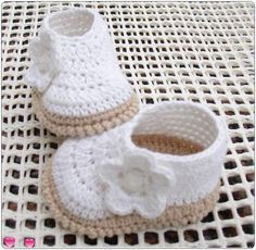 These white smart booties are neither lace on nor button up style but simply… Crochet Slippers, Baby Slippers, Baby Knitting, Crochet Baby Girls, Crochet Baby Dress Pattern, Baby Shoes Pattern, Crochet Baby Booties, Crochet For Kids, Crochet Patterns