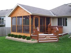 Love the deck added on- needs some paint on the porch!!