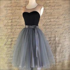 7 Layers Midi Tulle Skirt for Girls Fashion Tutu Skirts Women Solid Lace Ball Gown Party Petticoat Lolita faldas saia jupe Tutu En Tulle, Grey Tulle Skirt, Tulle Dress, Tulle Skirts, Pleated Skirts, Satin Skirt, Tulle Lace, Lace Skirt, Satin Tulle