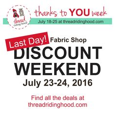 Don't Miss out! Last day to get your discounts! www.threadridinghood.com