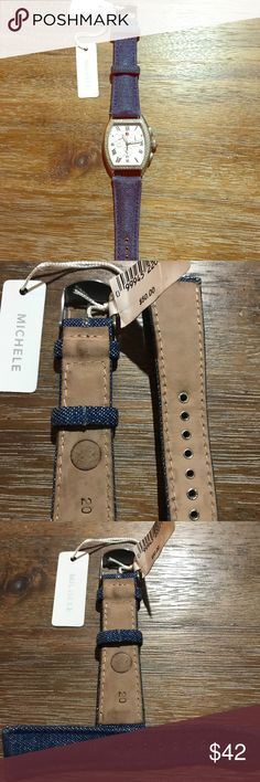 Michele jean band size 20 BNWT Michele band in blue jean material. Watch is not included. I ordered the wrong size band for my watch. Michele Accessories Watches