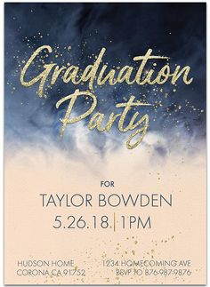 Showcase your favorite graduation photo on this gold, navy and soft coral watercolor graduation party invitation and graduation announcement in one. This design will be professionally personalized for you. Graduation Party Invitations, Graduation Party Decor, Grad Parties, Invites, Jw Printables, Hudson Homes, Peach Blush, High School Graduation, Graduation Announcements