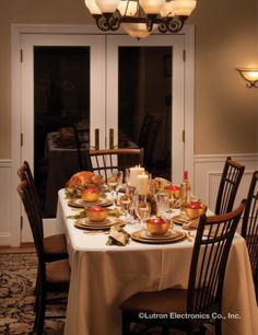 From family get-togethers to intimate dinners for two, lighting sets the mood and just makes the food taste better. http://www.lutron.com/en-US/Residential-Commercial-Solutions/Pages/Residential-Solutions/SingleRoomSolutions.aspx?utm_source=Pinterest_medium=DiningRooms_Thanksgiving_campaign=SocialMedia