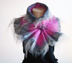 Gray & Fuchsia Felted Wool ScarfNeckpieceCollar by NataliyaMalik