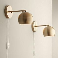 Selena Wall Lights LED Plug in Set of 2 Brass Sphere Shade Pin Up for Bedroom Living Room Reading - 360 Lighting 360 . Plug In Wall Lamp, Led Wall Lamp, Wall Sconces, Pin Up, Swing Arm Wall Lamps, Dim Lighting, Barn Lighting, Bedroom Lighting, Vintage Lighting