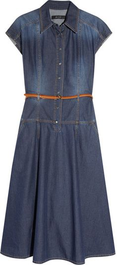 GUCCI Belted Denim Dress - Lyst