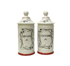 Cocaine and Opium Porcelain Apothecary Jars. Hand Painted Limoges Porcelain Apothecary Jars.  A stunning matching pair of hand-painted Limoges