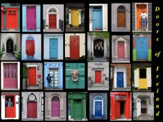 Love this picture! Someday I plan to visit Ireland and hope that I can see some of these doors! Cottage Door, Irish Cottage, Cool Doors, Architectural Features, Closed Doors, Doorway, Vibrant Colors, Colorful, Prints
