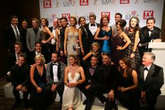 The cast and crew of Home and Away in the winners room.