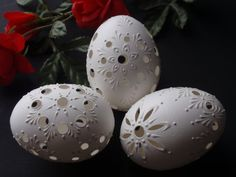 Pysanky Eggs Set of 3 Small Real Chicken Eggs Carved by EggstrArt