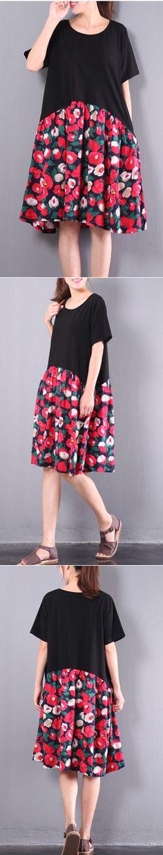original black patchwork print kint cotton sundress plus szie women dresses short sleeve shift dress