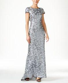 Calvin Klein Sequined Cap-Sleeve Gown - Dresses - Women - Macy's $209