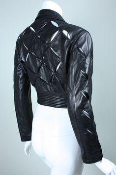 Early 1990's Versace Slashed Leather Motorcycle Jacket image 4