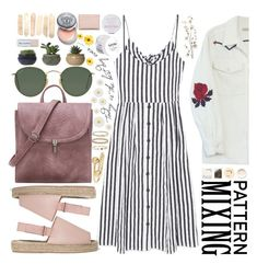 """Stripes and Flowers"" by carolsposito ❤ liked on Polyvore featuring Bliss and Mischief, MANGO, Pier 1 Imports, Korres, Ray-Ban, Monsoon, 8, WWAKE, J.W. Anderson and NYX"