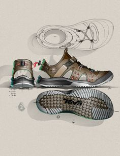 The detail in this design is incredible. The designer did a very good job of identifying where the cut outs of the sandal will be. The highlights and shadows also help a lot to identify the details of the shoe design, and really do a great job of showing the traction you would be getting from the bottom of the shoes.