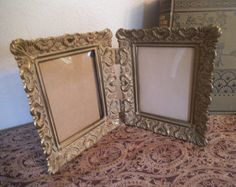 """Vintage Brass Double Picture Frame ~ Ornate Heart detailing ~ Fits 3"""" by 4"""" ~ Wedding - Edit Listing - Etsy"""