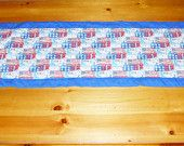 4th of July Quilted Table Runner is Red white and blue, handmade in patriotic decor, homemade quilt table runner, blue quilt binding, SATET