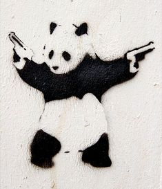 "Banksy Panda with 2 guns! ""Everybody get down!"""