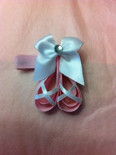 Items similar to Ballerina Slippers Ribbon Sculpture Clip on Etsy Ribbon Hair Clips, Hair Ribbons, Ribbon Art, Diy Hair Bows, Diy Bow, Ribbon Crafts, Ribbon Bows, Hair Bow Tutorial, Ribbon Sculpture