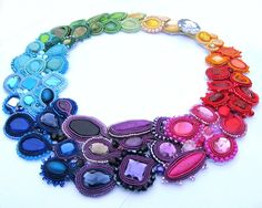 Rainbow Story II Colorful Soutache Necklace Charm by IncrediblesTN
