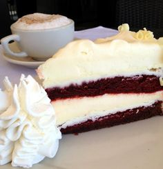 A decadent slice of the #RedVelvet #Cheesecake.