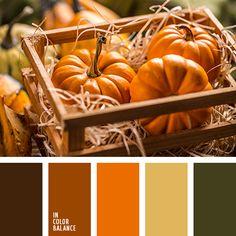 грязно-коричневый, желтый, зеленый, монохромная палитра, насыщенный оранжевый, оливковый, оттенки оранжевого, палитра для осени, подбор цвета для дома, темно-оранжевый, теплые оттенки, цвет тыквы, цвет тыквы и зеленый, цвета осени 2017.