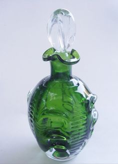 MCM Sweden Aseda Green Glass Decanter by TheAnteekTrunque on Etsy
